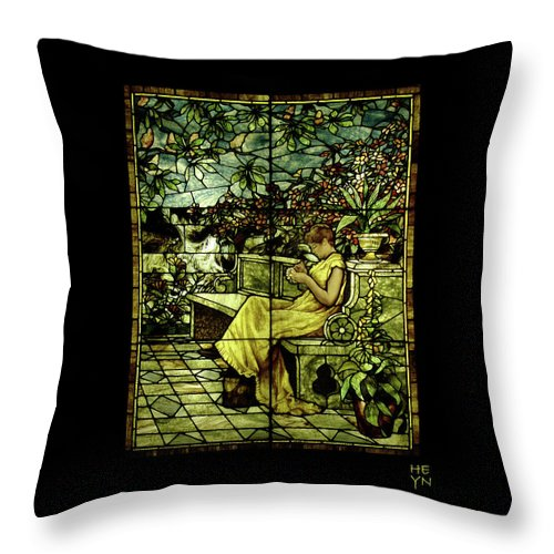 Stain Throw Pillow featuring the photograph Window - Lady In Garden by Shirley Heyn