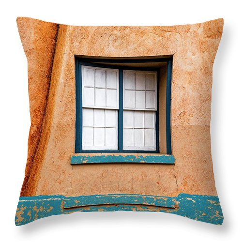 Santa Fe Throw Pillow featuring the mixed media Window And Adobe Walls by Carol Leigh