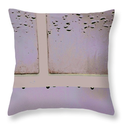 Window Throw Pillow featuring the photograph Window And Raindrops by Steve Somerville