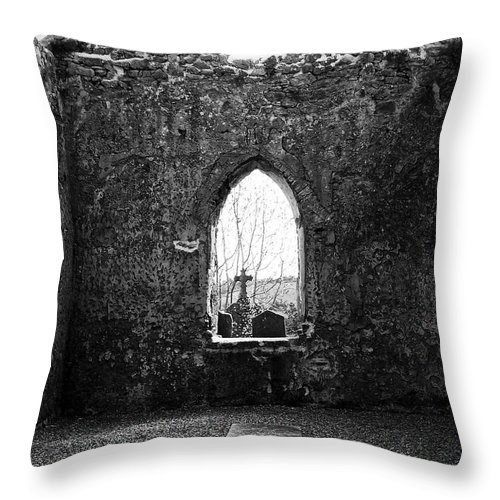 Ireland Throw Pillow featuring the photograph Window At Fuerty Church Roscommon Ireland by Teresa Mucha