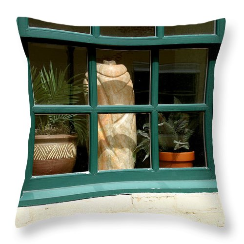 Fern Throw Pillow featuring the photograph Window At Sanders Resturant by Steve Augustin