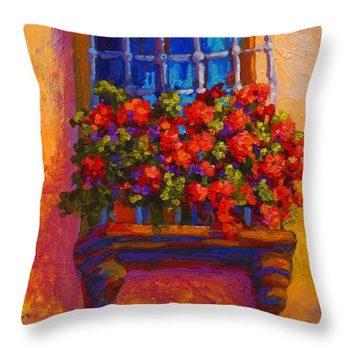 Poppies Throw Pillow featuring the painting Window Box by Marion Rose