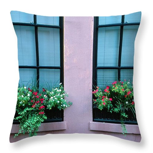 Flowers Throw Pillow featuring the photograph Window Boxes by Ronnie Glover