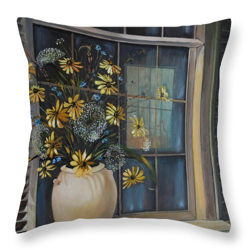 Wild Flowers Throw Pillow featuring the painting Window Dressing - Lmj by Ruth Kamenev