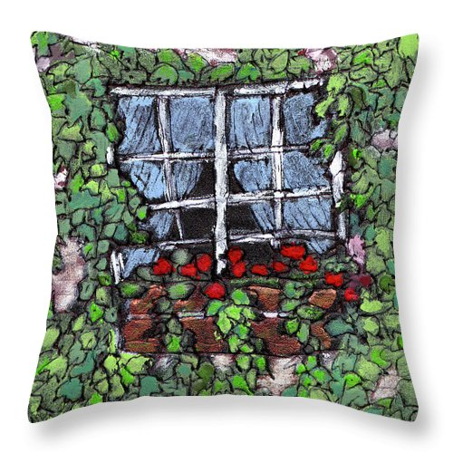 Flowers Throw Pillow featuring the painting Window Flower Box by Wayne Potrafka