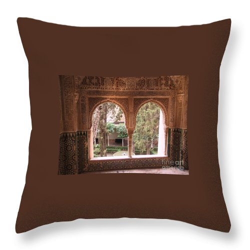 Window Throw Pillow featuring the photograph Window In La Alhambra by Thomas Marchessault