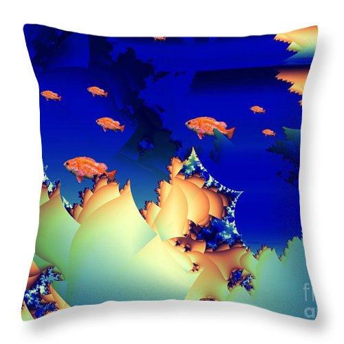 Undersea Throw Pillow featuring the digital art Window On The Undersea by Ron Bissett