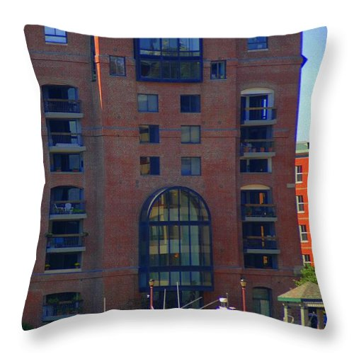 Building Throw Pillow featuring the photograph Window Reflections by Kathleen Struckle