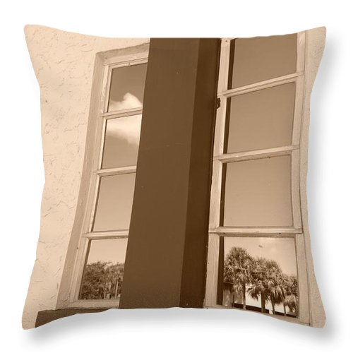 Sepia Throw Pillow featuring the photograph Window T Glass by Rob Hans