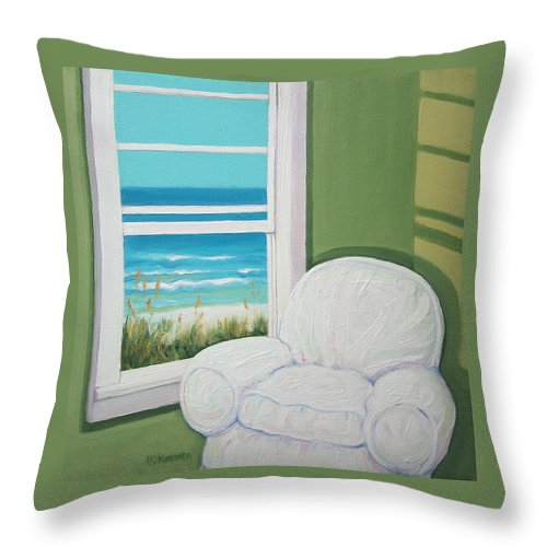 Beach Throw Pillow featuring the painting Window To The Sea No. 2 by Rebecca Korpita