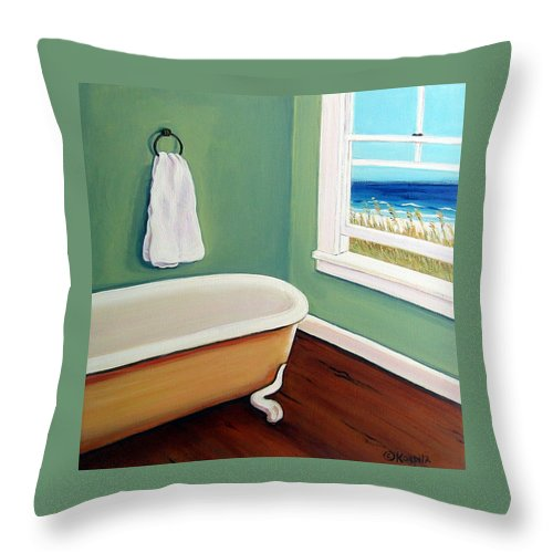 Beach Throw Pillow featuring the painting Window To The Sea No. 4 by Rebecca Korpita
