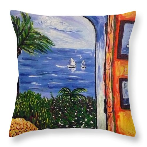 Landscape Throw Pillow featuring the painting Window With Coral by Ericka Herazo
