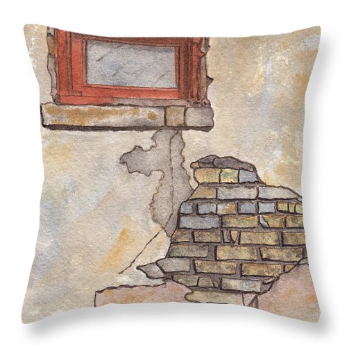 Window Throw Pillow featuring the painting Window With Crumbling Plaster by Ken Powers