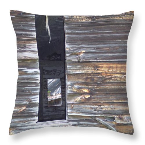 Rustic Old Barn Farm Country Windows Throw Pillow featuring the photograph Windows by Anna Villarreal Garbis