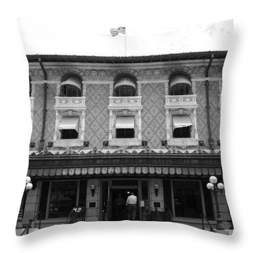 Historic Throw Pillow featuring the photograph Windows On The World by Nina Fosdick