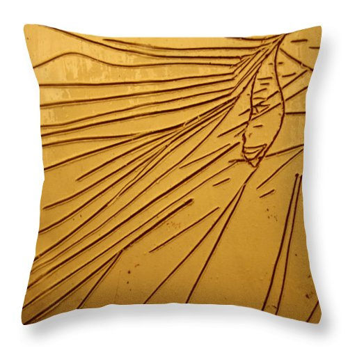 Jesus Throw Pillow featuring the ceramic art Windswept - Tile by Gloria Ssali