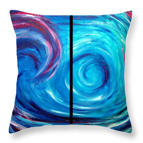 Blue Throw Pillow featuring the painting Windswept Blue Wave And Whirlpool 2 by Nancy Mueller