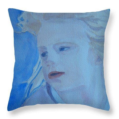 Portrait Portraits Throw Pillow featuring the painting Windswept by Jenny Armitage