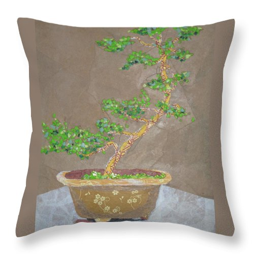 Banzai Tree Throw Pillow featuring the painting Windswept Juniper by Leah Tomaino