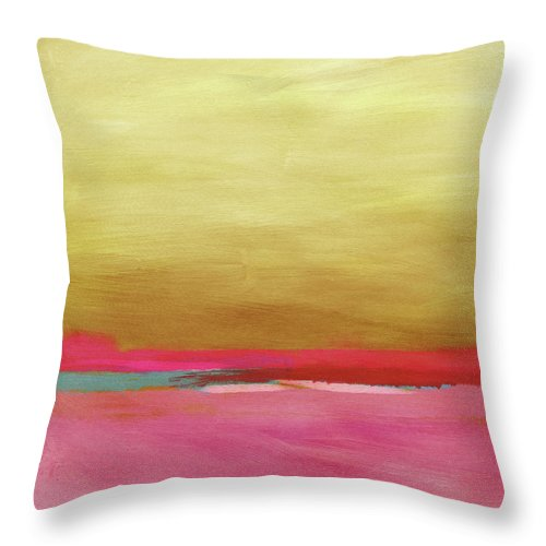 Abstract Throw Pillow featuring the mixed media Windswept Sunrise- Art By Linda Woods by Linda Woods