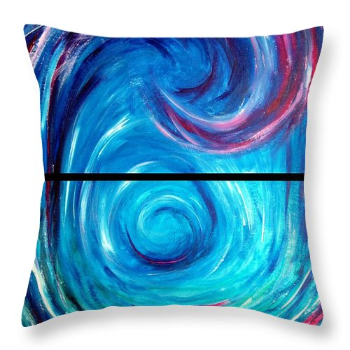 Blue Throw Pillow featuring the painting Windwept Blue Wave And Whirlpool Diptych 1 by Nancy Mueller