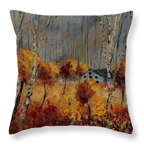 Tree Throw Pillow featuring the painting Windy Autumn Landscape by Pol Ledent
