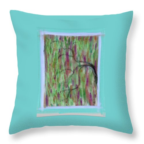 Digital Throw Pillow featuring the painting Windy Day by Richard Benson