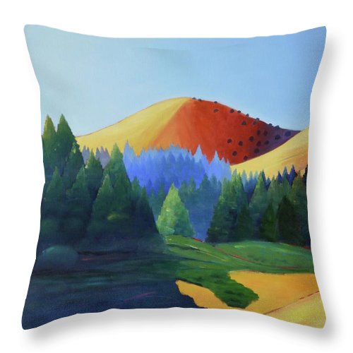 Hill Throw Pillow featuring the painting Windy Hill Triptych I by Gary Coleman