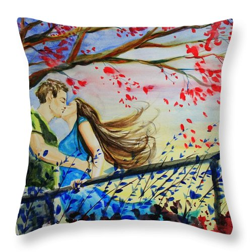 Wind Throw Pillow featuring the painting Windy Kiss by Laura Rispoli