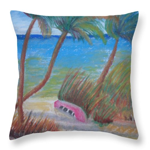 Landscape Throw Pillow featuring the painting Windy Palms by Warren Thompson