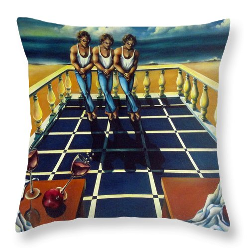 Surreal Throw Pillow featuring the painting Wine And Pomegranites by Valerie Vescovi