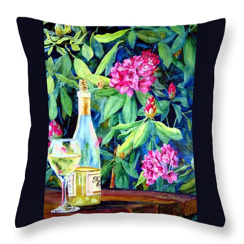 Rhododendron Throw Pillow featuring the painting Wine And Rhodies by Karen Stark