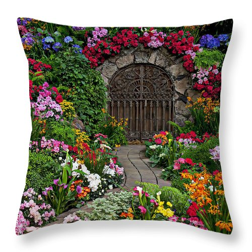 Flowers Throw Pillow featuring the photograph Wine Celler Gates by Garry Gay