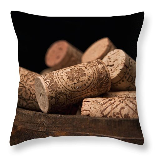 Wine Throw Pillow featuring the photograph Wine Corks by Tom Mc Nemar