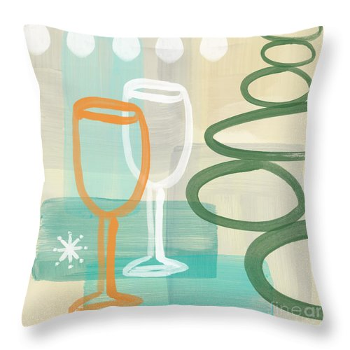 Wine Throw Pillow featuring the painting Wine For Two by Linda Woods