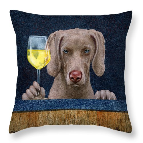 Will Bullas Throw Pillow featuring the painting Wine-maraner by Will Bullas