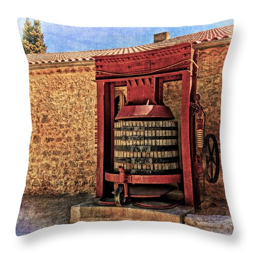 Wine Press Throw Pillow featuring the photograph Wine Press Near Narbonne France Dsc01630 by Greg Kluempers