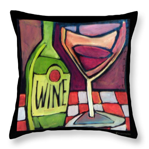 Wine Throw Pillow featuring the painting Wine Squared by Tim Nyberg