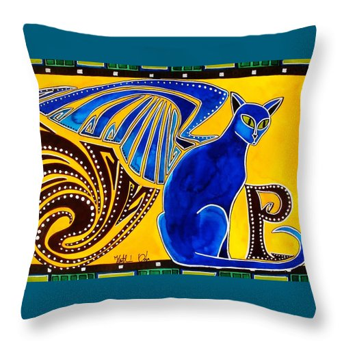 Cat Art Throw Pillow featuring the painting Winged Feline - Cat Art with letter P by Dora Hathazi Mendes by Dora Hathazi Mendes