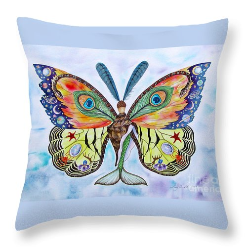 Butterfly Throw Pillow featuring the painting Winged Metamorphosis by Lucy Arnold