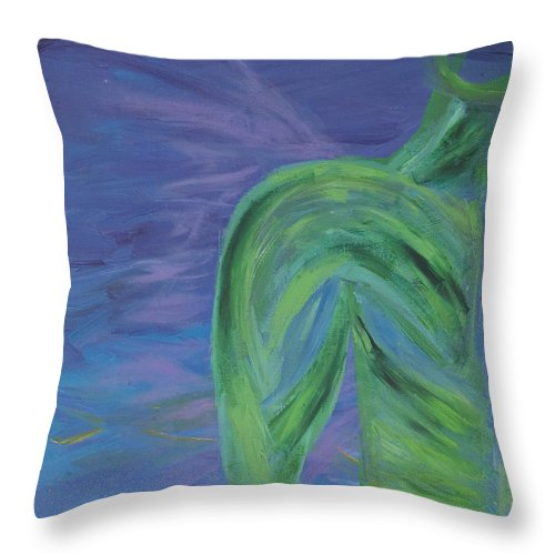 Angel Throw Pillow featuring the painting Winged Thing by Lola Connelly
