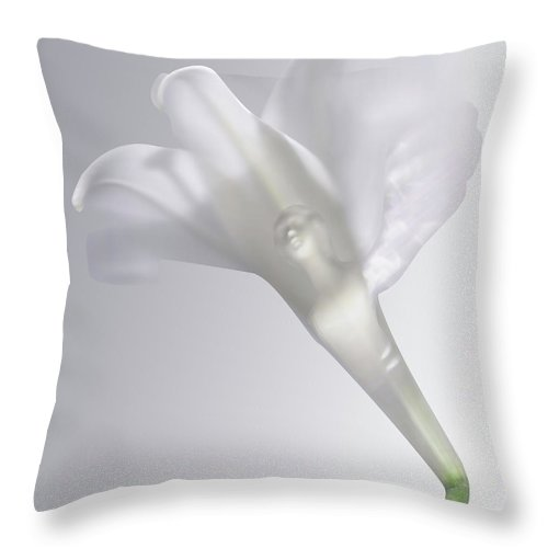 Throw Pillow featuring the photograph Winged Woman In White Lily by Heather Kirk