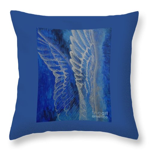 Acrylic Throw Pillow featuring the painting Wings Of Angel by Jindra Noewi