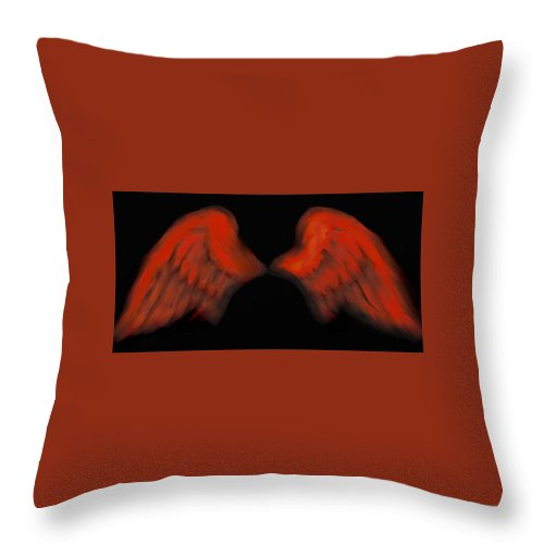 Angel Throw Pillow featuring the painting Wings Of Fire by Frances Lewis
