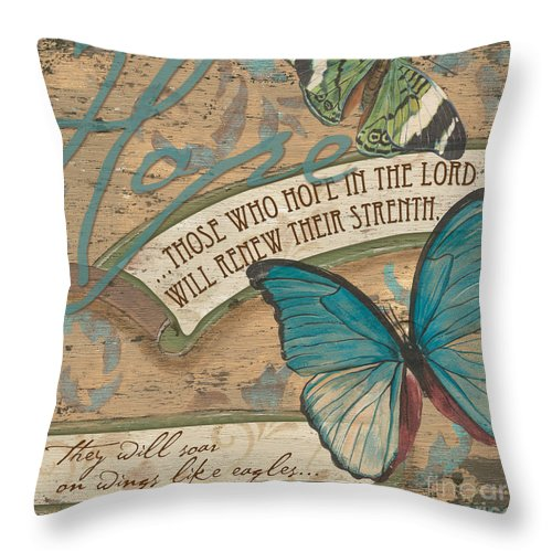 Butterfly Throw Pillow featuring the painting Wings Of Hope by Debbie DeWitt