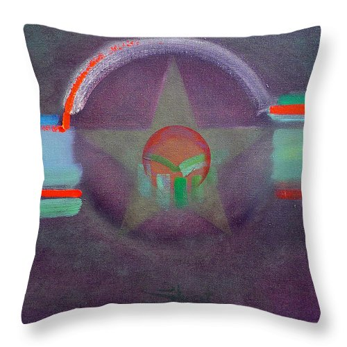 Star Throw Pillow featuring the painting Wings Vermillion  by Charles Stuart