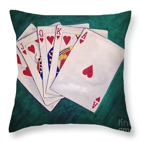 Playing Cards Wining Hand Role Flush Throw Pillow featuring the painting Wining Hand 2 by Herschel Fall