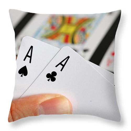 Ace Throw Pillow featuring the photograph Winning Hand by Joe Ng