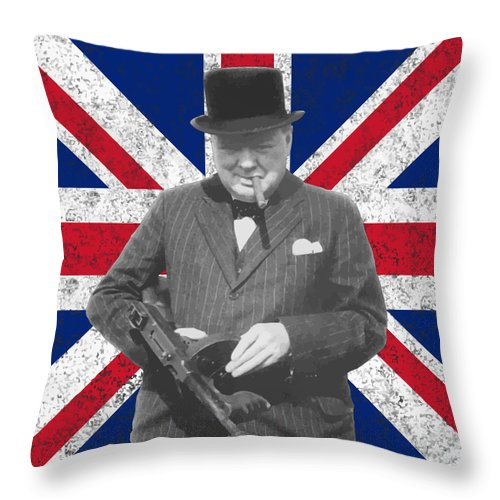 Winston Churchill Throw Pillow featuring the painting Winston Churchill And His Flag by War Is Hell Store
