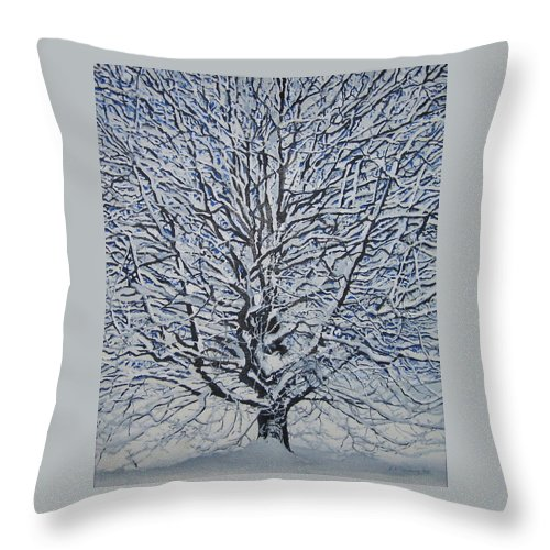 Winter Throw Pillow featuring the painting Winter '05 by Leah Tomaino